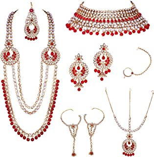 Traditional Indian Jewelry Bollywood Ethnic Wedding Bridal Kundan and Beaded Necklace Set for Women