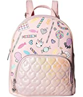 Candy Print Mini Backpack with Hologram Quilted Pocket