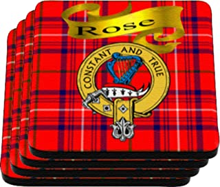 Scottish Clan Rose Made in USA on Cloth topped rubber Coaster Set of 4