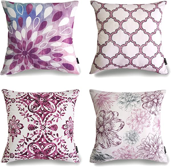 Phantoscope Set Of 4 New Living Series Purple Decorative Throw Pillow Case Cushion Cover 18 X 18 Inches 45cm X 45cm