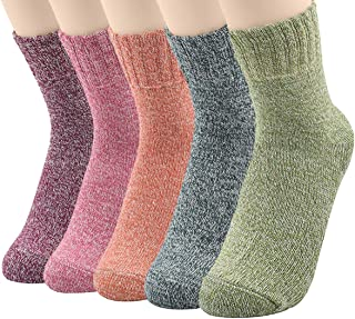 5 Pairs Womens Winter Socks Vintage Soft Cozy Warm Thick Knit Wool Crew Socks