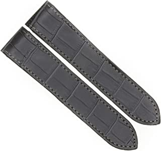 23mm Charcoal Gray Leather Strap Watch Band Fits Cartier Santos 100 XL Non-Chronograph by Vintage G