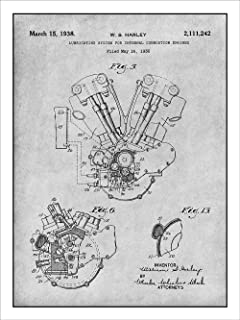 Studio 21 Graphix 1936 Harley Davidson Knucklehead Engine Motorcycle Patent Print Art Poster UNFRAMED Gray 18