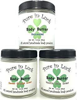 Pure in Luck, Body Butter Gift Set - Large, natural & organic ingredients, includes 3 butters: Unscented, Sweet Orange, Vanilla Bean, 3.2oz each, 9.6oz total