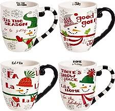 CEDAR HOME Coffee Ceramic Mug Funny Christmas Porcelain Tea Cup 18oz., Set of 4
