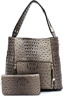 New! Le Miel Ostrich Embossed Set 3 Compartment Hobo Tote w/Strap + Wallet
