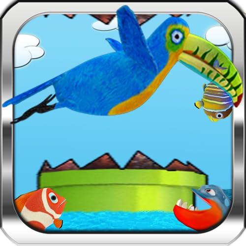 Happy Tucán Runner Infinito Cazador Pro - Pesca y vuelo real una aventura de un pájaro minúsculo, de alas torpes cruzando a través de las tuberías