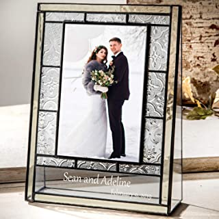 Wedding Picture Frame Personalized Gift for Couple Engraved Glass Table Top 4x6 Photo Keepsake J Devlin Pic 387 EP544 (4x6 Vertical)