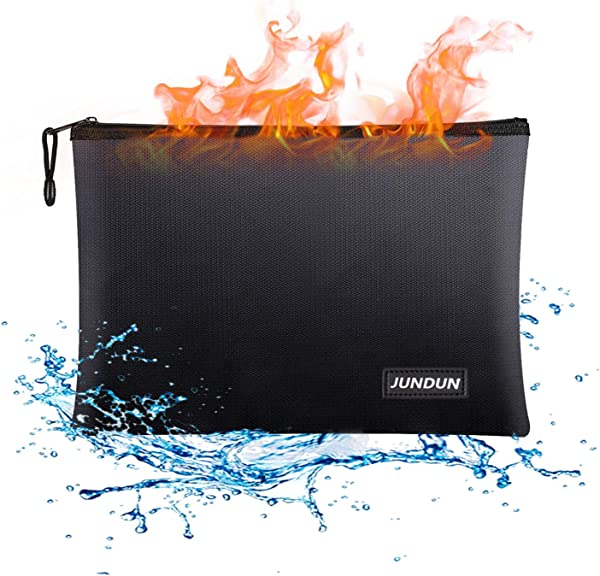 JUNDUN Fireproof Document Bags 13 4 X 9 4 Waterproof And Fireproof Money Bag Fire Resistant Safe Storage Pouch With Zipper For A4 Document Holder File Cash And Tablet