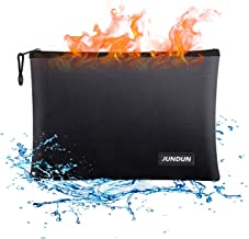 "JUNDUN Fireproof Document Bags,13.4""x 9.4""Waterproof and Fireproof Money.."