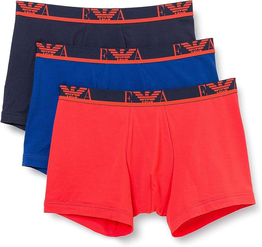 Emporio armani,3 paia di mutandine boxer per uomo, 95% cotone, 5% elastan, rbb 1114731P71575735B