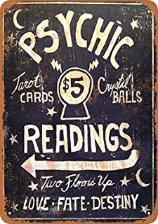 TiuKiu Psychic Readings $5 Tarot Cards Crystal Balls - Vintage Metal Sign Novelty Wall Plaque Wall Art Decor Accessories Gifts 8 X 12 Inches