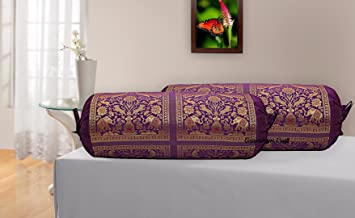 Ganesham Craft Brocade & Polydupion Silk Decorative Bolster Covers For Deewan Sofa Diwan Set Bed Mattress For Living Room Bed Room Guest Room Cushion Protector Cover Home And Office 30x15 inches Set of 2 Pcs