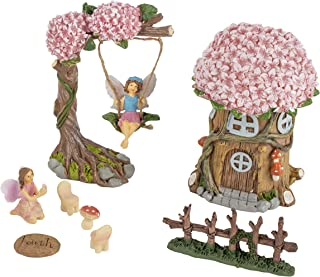 Juvale Fairy Garden Kit - 8-Piece Miniature Tree House and Fairy Figurines, Mini Fairy Garden Accessories, Indoor Outdoor Decorations, Yard, Lawn, Housewarming, Wedding Gift