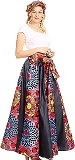 Elif Women's Long Maxi African Ankara Print Skirt Elastic Waist & Pockets
