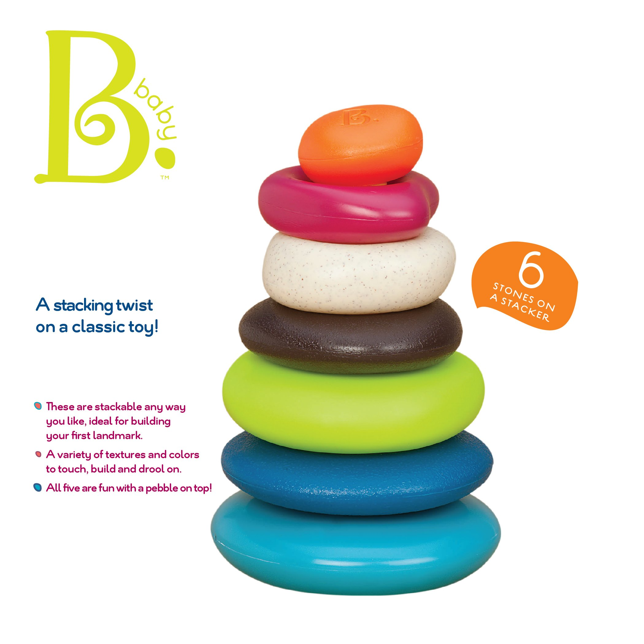 B. toys by Battat B. Toys – Stacking Rings – Textured Ring Stacker for Babies – Baby Toys 100% Non-Toxic – Early Development Toys