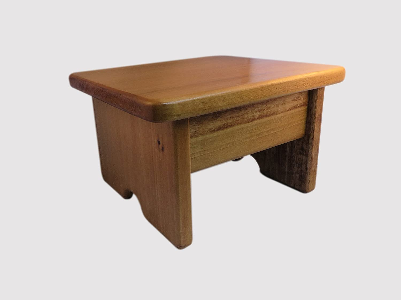 KR Ideas Foot Stool Poplar Wood Maple Stain 7  Tall Mini (Made in The USA)
