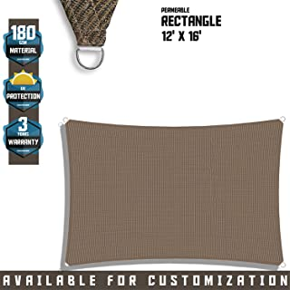 TANG Sunshades Depot 12' x 16' Sun Shade Sail Square Permeable Canopy Brown Coffee Custom Commercial Standard 180 GSM HDPE