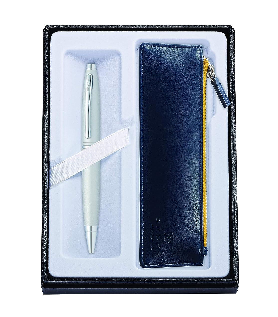 堀染色崇拝しますクロス ボールペン 油性 ギフトセット カレイ AT0112-16/Z2 オールオーバーサテンクローム ジッパーペンケースブルー付 正規輸入品