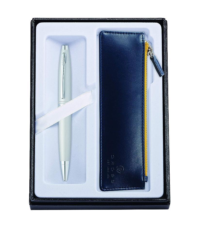 クラウンみキャッシュクロス ボールペン 油性 ギフトセット カレイ AT0112-16/Z2 オールオーバーサテンクローム ジッパーペンケースブルー付 正規輸入品