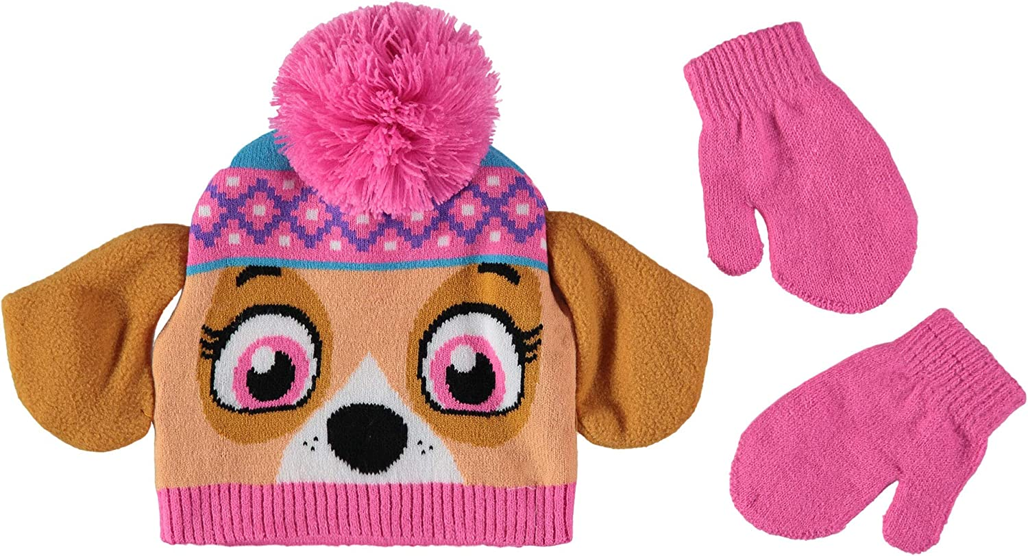 Nickelodeon Girls' Toddler Paw Patrol Hat and Mittens Cold Weather Set (Skye/Pink, Age 2-4)