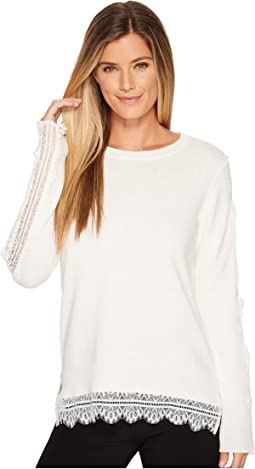 Ivanka Trump - Pullover Side Slit Sweater Lace Trim