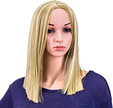 SWACC 14-Inch Short Straight Middle Part Hair Wig Medium Length Synthetic Heat Resistant Wigs for Women with Wig Cap (Dirty Blonde Highlights)