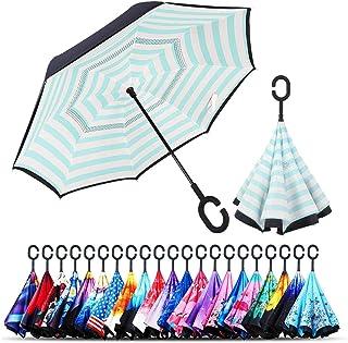 Jooayou Doppio Strato Invertito Ombrello, Manico a Forma di C Ombrello Ribaltabile Inverso, Anti UV Antivento Umbrella di ...