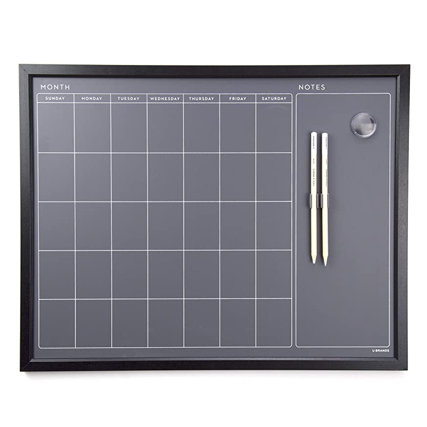 U Brands Magnetic Calendar Chalk Board, Wood Frame, 16