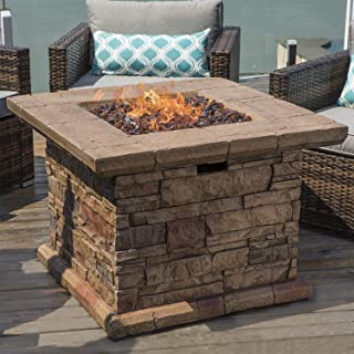 COSIEST Outdoor Propane Fire Pit Table w Faux Brown Square Ledgestone 32-inch Square Base and Tabletop, 50,000 BTU Stainless Steel Burner, Free Lava Rocks, Fits 20 Gal Tank Inside