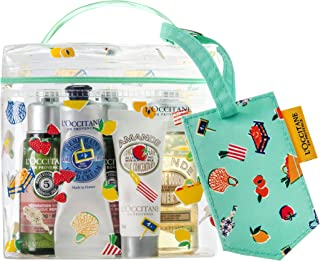 L'Occitane 5-Piece Travel Beauty Favorites Kit of Shampoo, Conditioner, Shower Oil, Lotion, Hand Cream with Luggage Tag and Vanity