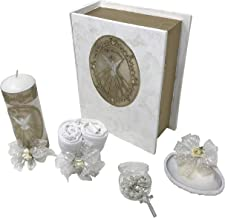 Catholic Baptism Kit in a Wooden Bible Box with Towel, Candle, Rosary and Shell for Baby Boys and Girls. Handmade in Mexico Gift for Godparents. Holy Spirit Baptism Candle Set. Kit de Bautizo.