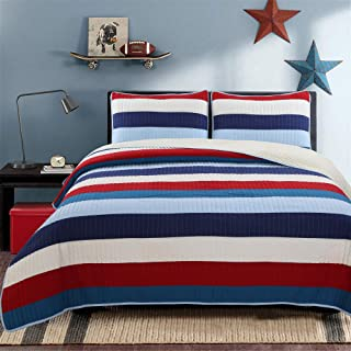 Cozy Line Home Fashions Aaron Bedding Quilt Set, Nautical Navy Blue Red Off-White Striped Printed 100% Cotton Reversible Coverlet Bedspread Bedding Set (National Stripe, Queen - 3 Piece)