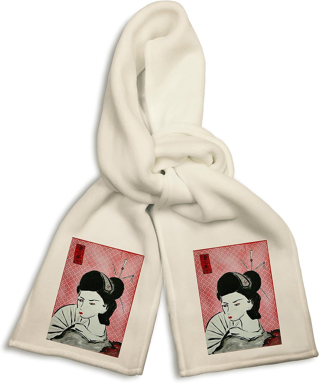 White Winter Scarf - Geisha Girl on Red Mural Yuya Negishi YUYART