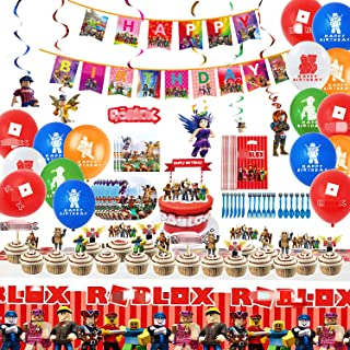 92Pcs Robot Party Supplies Set 10-guest Robot Theme Party -Birthday Decorations,Happy Birthday Banner,Spiral Ornaments,goo...