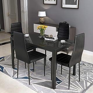 Modern Kitchen Table Tempered Glass Steel Frame Dining Room Home Furniture Black