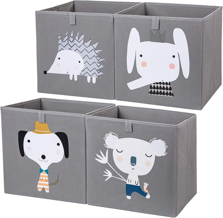 4pcs 13 /×13 Collapsible Storage Bins for Shelf AXHOP Foldable Storage Bins Storage Cubes Storage Baskets for Shelf Closet Office Beige Elephant Nursery Kids Baby