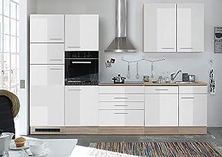Moebel Guenstig24.de Küche Andy Küchenblock Küchenzeile Komplettküche 270cm  Singleküche Miniküche Kleinküche Weiß Eiche