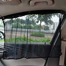Tianmei 2 Pieces 27.5in17.7in Adjustable Car Side Window & Rear Window UV Protective Curtain, Car Sun Shade Block Keeps Cool with Kids & Baby(Sunshade Curtain - Black)