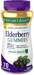 Elderberry Gummies by Nature's Bounty, Dietary Supplement, Supports Immune Health, Contains Vitamin A, C, D, E and Zinc, 1...