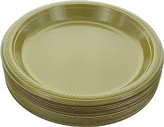 Amcrate Gold Disposable Plastic Party Plates 10.4