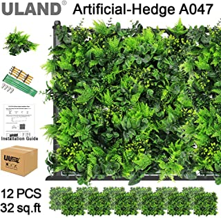 ULAND Artificial Topiary Hedges Panels, Plastic Faux Shrubs Fence Mat, Greenery Wall Backdrop Decor, Garden Privacy Screen Fence, Pack of 12pcs 20