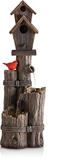 Alpine Corporation 3-Tier Birdhouse Water Fountain - Outdoor Cardinal Bird Waterfall for Garden, Patio, Deck, Porch - Yard...