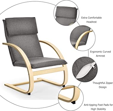 Giantex Bentwood Chair with Stable Curved Leg and Arm, Detachable Linen Fabric Cushion Modern Leisure Chair for Living Room,