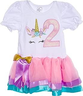 Baby Girls Birthday Outfit Unicorn Rainbow Ribbon Tutu Dress for Toddlers
