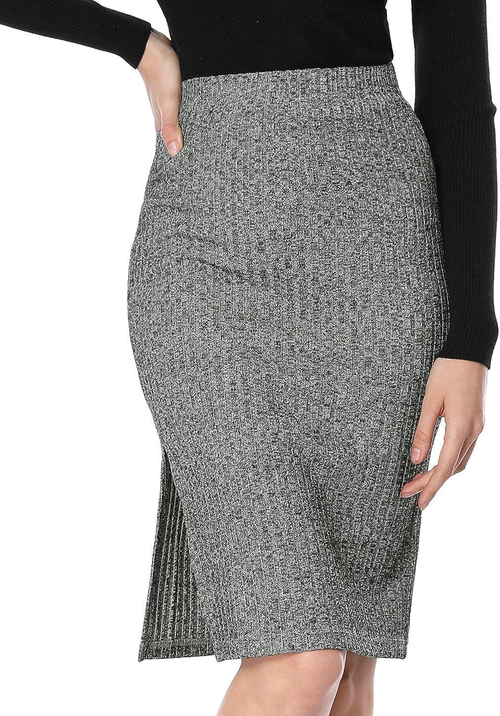 Allegra K Women's Stretchy Ribbed Knit Skirt Knee Length Slit Bodycon Pencil Skirt