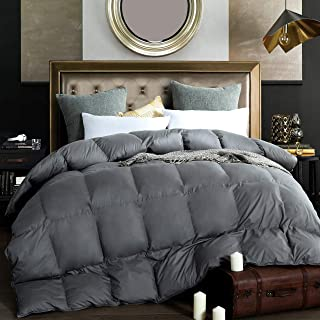 Alanzimo Goose Down Comforter Queen Size - All Season - Luxury 100% Cotton Hypoallergenic 1200 Thread Count 700 Fill Power with Tabs Gray