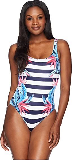 Palms Paradise Reversible Lace Back One-Piece