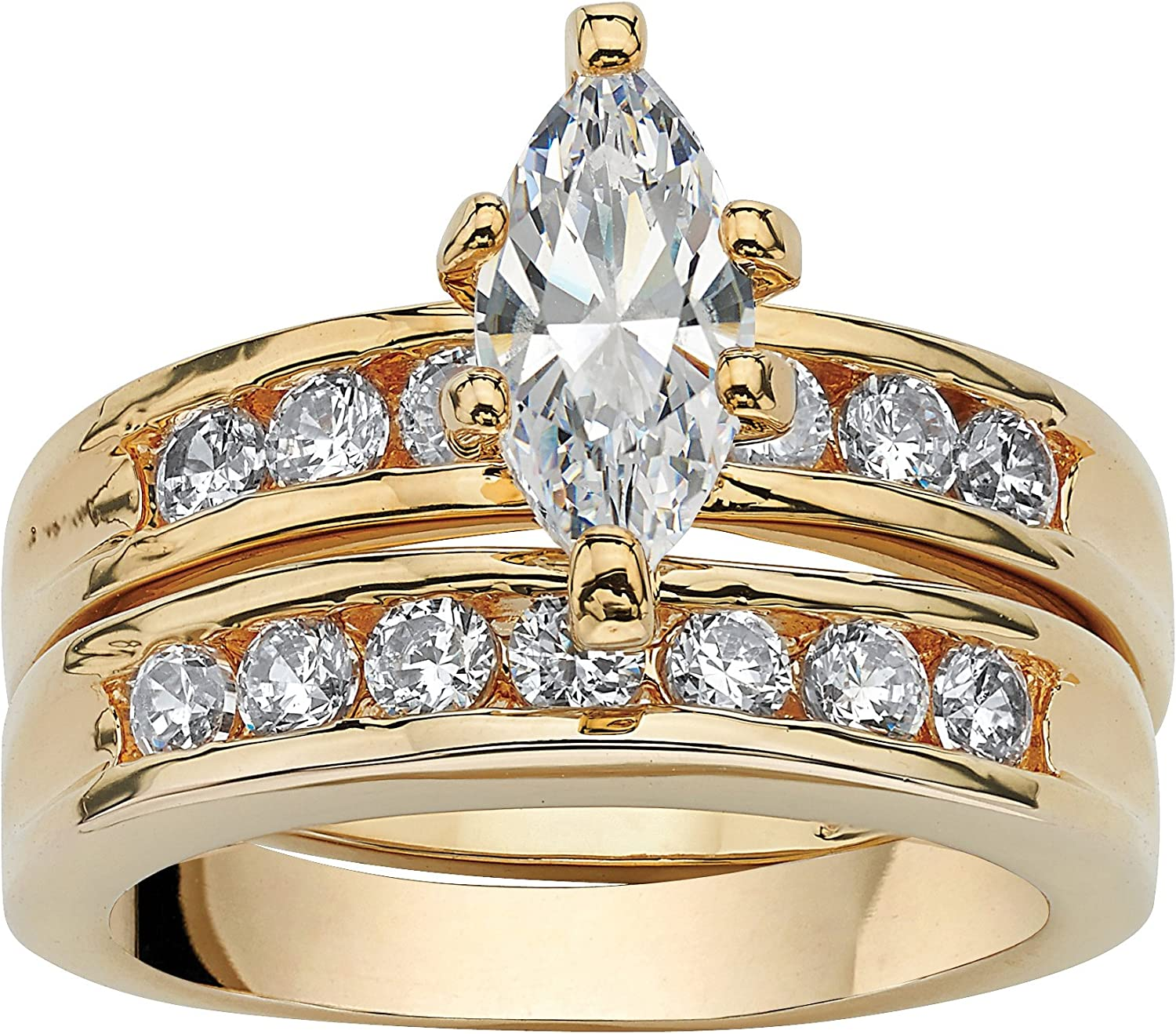 Palm Beach Boston Mall Jewelry Gold-Plated Marquise Ranking TOP19 Cubic Cut and Zirc Round