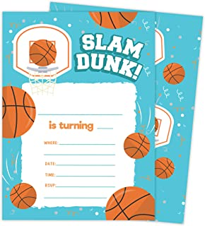 Basketball 1 Happy Birthday Invitations Invite Cards (25 Count) With Envelopes and Seal Stickers Vinyl Girls Boys Kids Party (25ct)